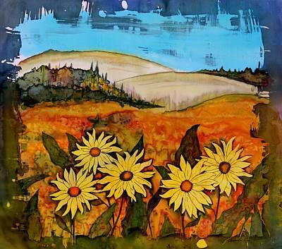 Nature Batik Tapestry - Textile - Prairie Wildflowers by Carolyn Doe