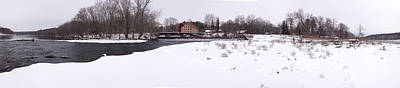 Winter Photograph - Prallsville Mills And Waterfalls - Stockton New Jersey Panorama by Bill Cannon