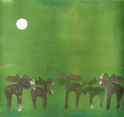 Prancing Reindeer Print by Theresa Khong