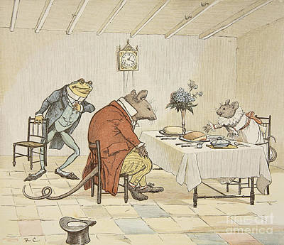 Mouse Painting - Pray Miss Mouse Will You Give Us Some Beer by Randolph Caldecott