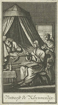 Bo Drawing - Praying Figures At The Bedside Of A Sick Person by Jan Luyken And Barent Bos