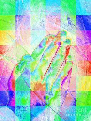 Praying Hands 20150302v1 Color Squares Print by Wingsdomain Art and Photography
