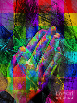 Believe Digital Art - Praying Hands 20150302v2 Color Squares by Wingsdomain Art and Photography