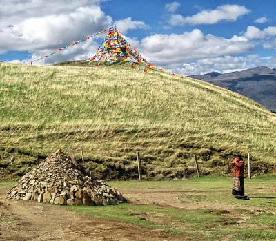 Praying Tibetan Print by James Wheeler