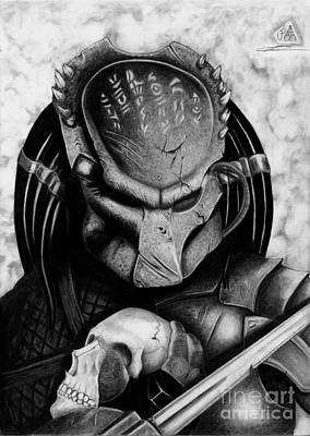 Dark Evil Scary Drawing - Predator by Christopher Spring