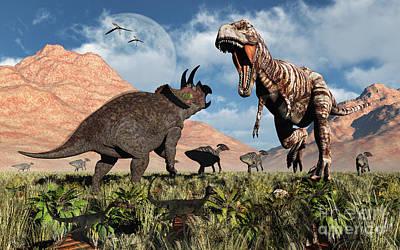 Anger Digital Art - Prehistoric Battle by Mark Stevenson