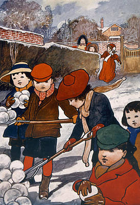 Snowball Fights Painting - Preparing For The Snowball Fight by English School