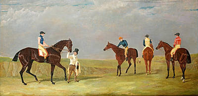 Preparing To Start For The Doncaster Gold Cup 1825 Print by John Frederick Herring Senior