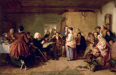 Instruction Photograph - Presbyterian Catechising, 1847 Oil On Canvas by John Phillip
