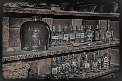 Glass Photograph - Prescription Drug Bottles Black And White by LeeAnn McLaneGoetz McLaneGoetzStudioLLCcom