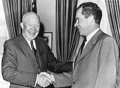 President Eisenhower And Nixon Print by Underwood Archives