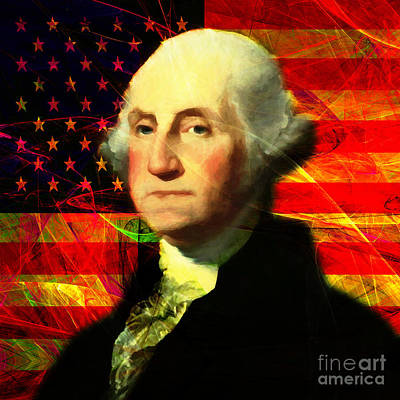 President George Washington V2 M20 Square Print by Wingsdomain Art and Photography