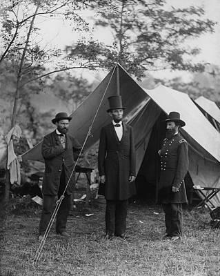 President Lincoln At Antietam Print by Alexander Gardner