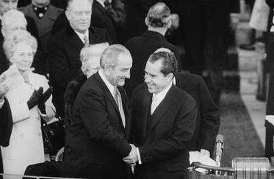 Lyndon Photograph - President Lyndon Johnson Warmly Shakes by Everett