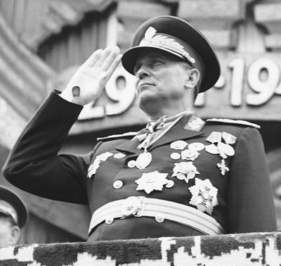 President Marshal Tito Salutes Print by Underwood Archives