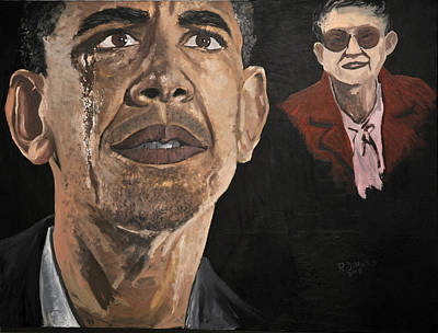Inaugural Painting - President Obama And Grandmom by Roger  James