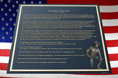 President Ronald Reagan Plaque Print by Thomas Woolworth