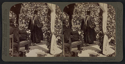 President Roosevelt In Academic Robe Addressing Students Print by Litz Collection