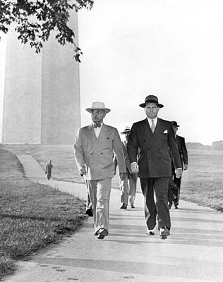 President Truman On A Walk Print by Underwood Archives