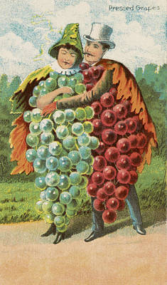 Woman Cartoons Drawing - Pressed Grapes by Aged Pixel