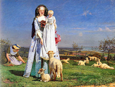 Pretty Baby Lambs Print by Ford Madox Brown