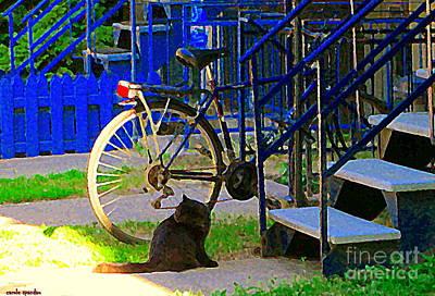 Quebec Art Painting - Pretty Cat In Verdun Taking The Sun Blue Picket Fence And Bike Montreal Garden Scene Carole Spandau  by Carole Spandau