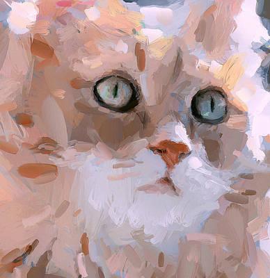 Kitten Digital Art - Pretty Cat Woman by Yury Malkov