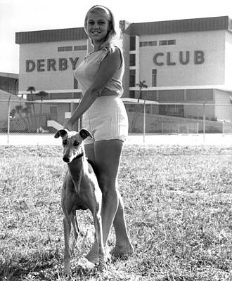Greyhound Photograph - Pretty Girl With Greyhound by Retro Images Archive