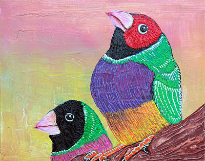 Bird Painting - Pretty Gouldian Finches by Laura Barbosa