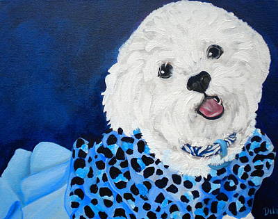 Small Dogs Painting - Pretty In Blue by Debi Starr