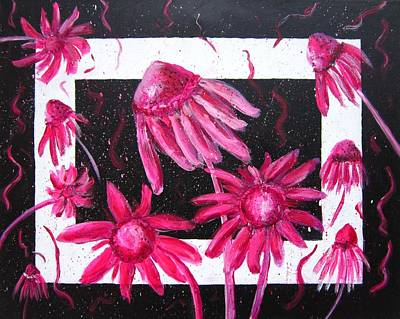Abstracted Coneflowers Painting - Pretty In Pink 2 by Marita McVeigh