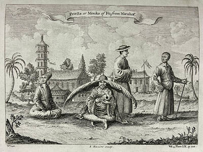 Priests Or Monks Of Fo Print by British Library
