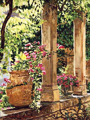 Pillars Painting - Prieure Hotel Gardens Villeneuve by David Lloyd Glover