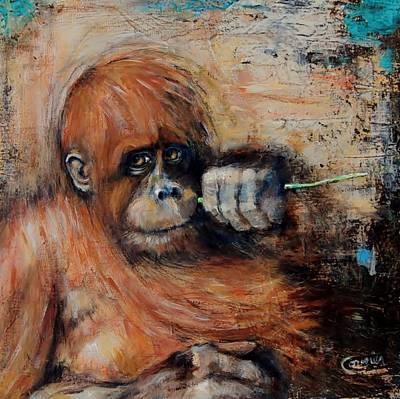 Orangutan Mixed Media - Primate by Jean Cormier