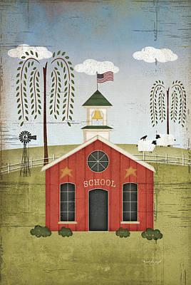 Primitive School Print by Jennifer Pugh