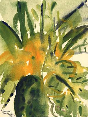 Primroses Print by Claudia Hutchins-Puechavy