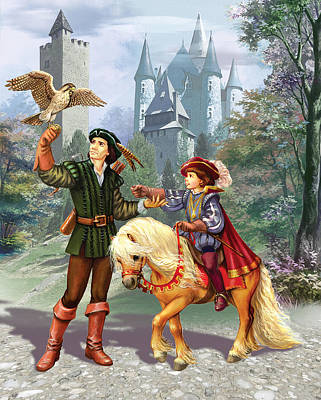 Prince And Falconer Print by Zorina Baldescu