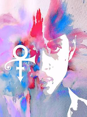 Singer Mixed Media - Prince Watercolor by Dan Sproul