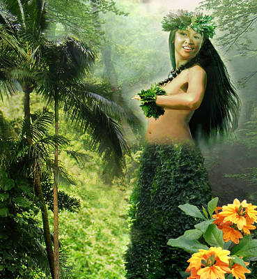 Hula Girl Art Painting - Princes Of The Hawaiian Forest by Regina Femrite