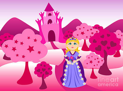 Ball Gown Digital Art - Princess And Pink Castle Landscape by Sylvie Bouchard