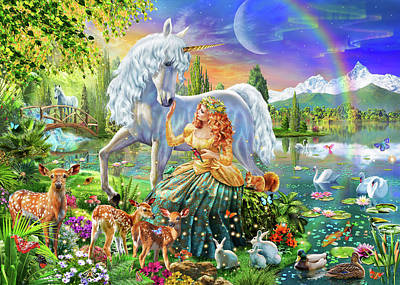 Unicorn Drawing - Princess And Unicorn by Adrian Chesterman