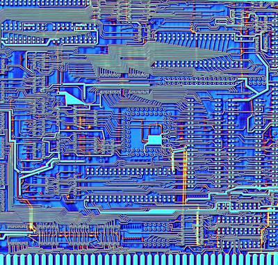 Computer Circuit Board Photograph - Printed Circuit Board by Alfred Pasieka