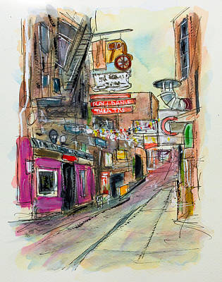 Nashville Painting - Printers Alley Nashville by Tim Ross