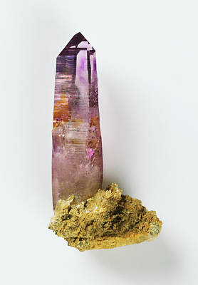 Amethyst Photograph - Prismatic Amethyst Crystal by Dorling Kindersley/uig
