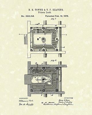 Jail Drawing - Prison Lock 1878 Patent Art  by Prior Art Design