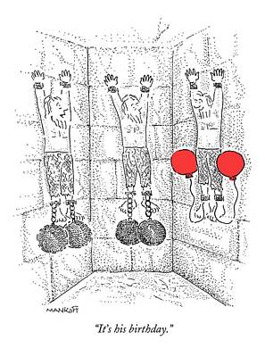 Prisoner In Dungeon Has Orange Balloons Attached Print by Robert Mankoff