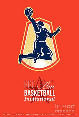 Pro Am Basketball Invitational Retro Poster Print by Aloysius Patrimonio