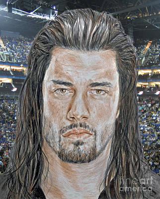 American Drawing - Pro Wrestling Superstar Roman Reigns II by Jim Fitzpatrick