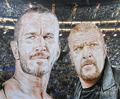 Eyes Drawing - Pro Wrestling Superstars Randy Orton And Triple H by Jim Fitzpatrick