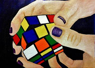 Rubiks Cube Painting - Problem Solving by Crystal  Menicola